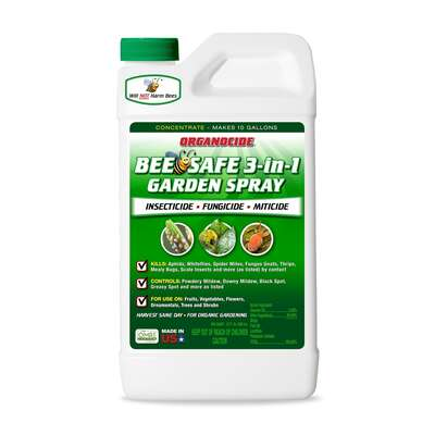 Organocide  Bee Safe 3-in-1 Garden Spray  Organic Liquid Concentrate  Insect, Disease & Mite Control