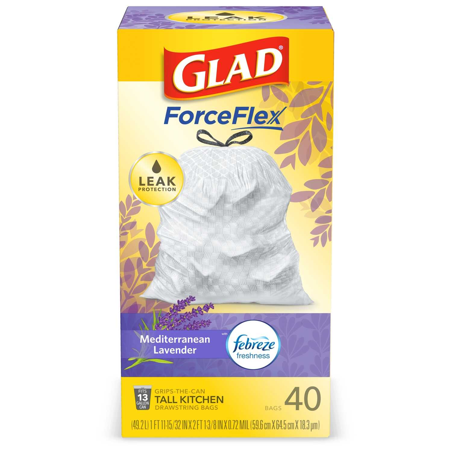 Glad  OdorShield  13 gal. Tall Kitchen Bags  Drawstring  40 pk