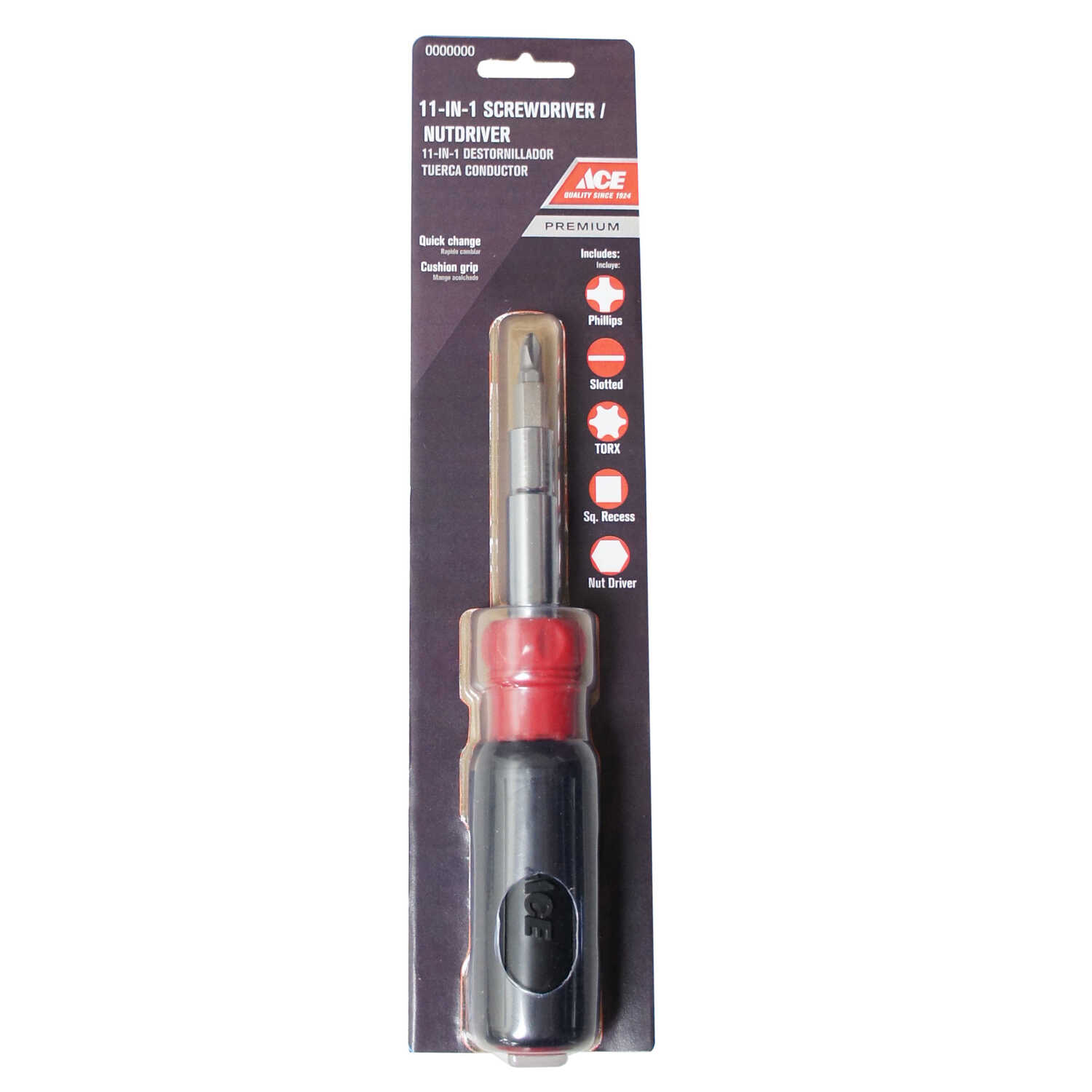 ACE  4 in. Hex  1/4 in. 11-in-1 Screwdriver  Carbon Steel  Red  11 pc.