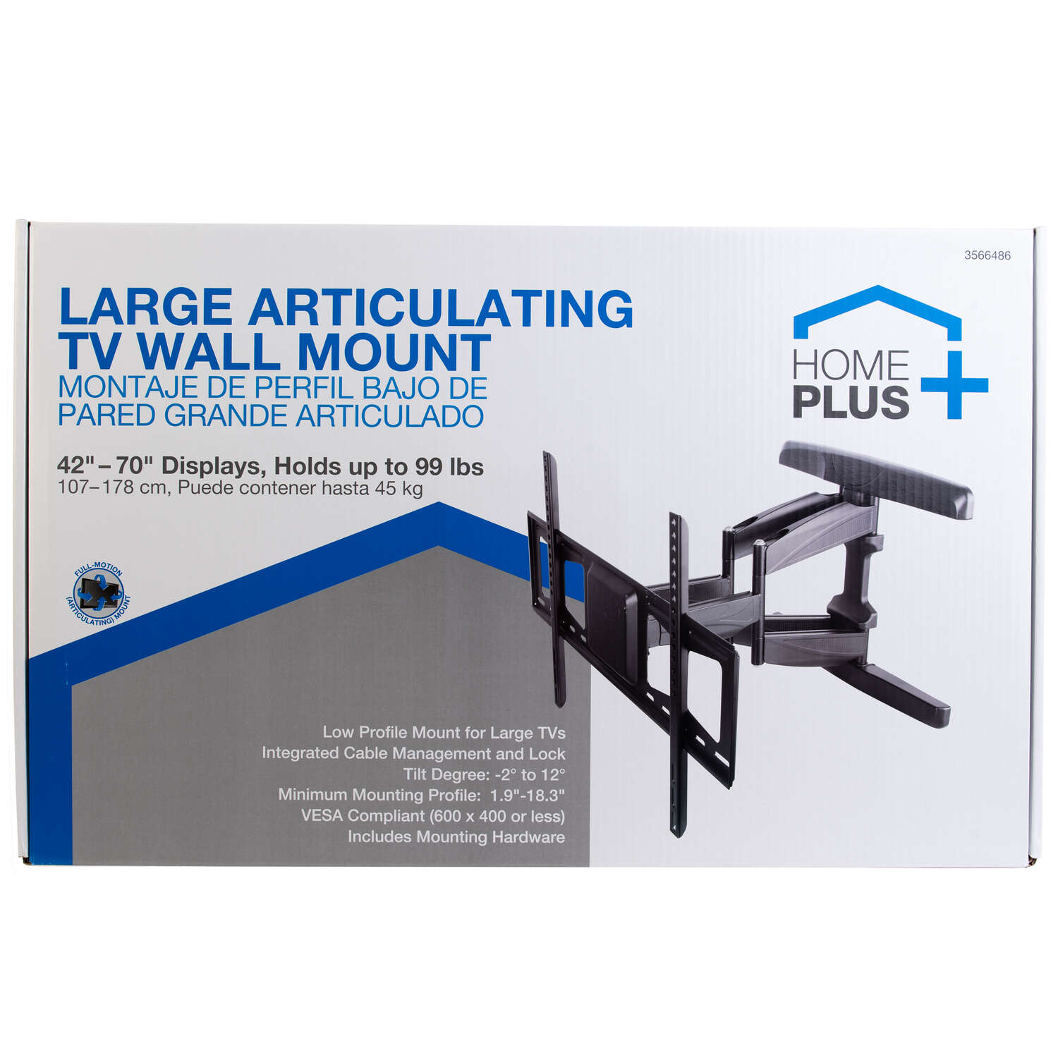 Home Plus  42 in. 70 in. 99 lb. Tiltable Super Thin Articulating TV Wall Mount