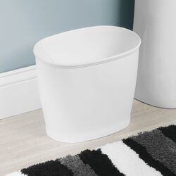 InterDesign  Kent  White  Oval  Wastebasket