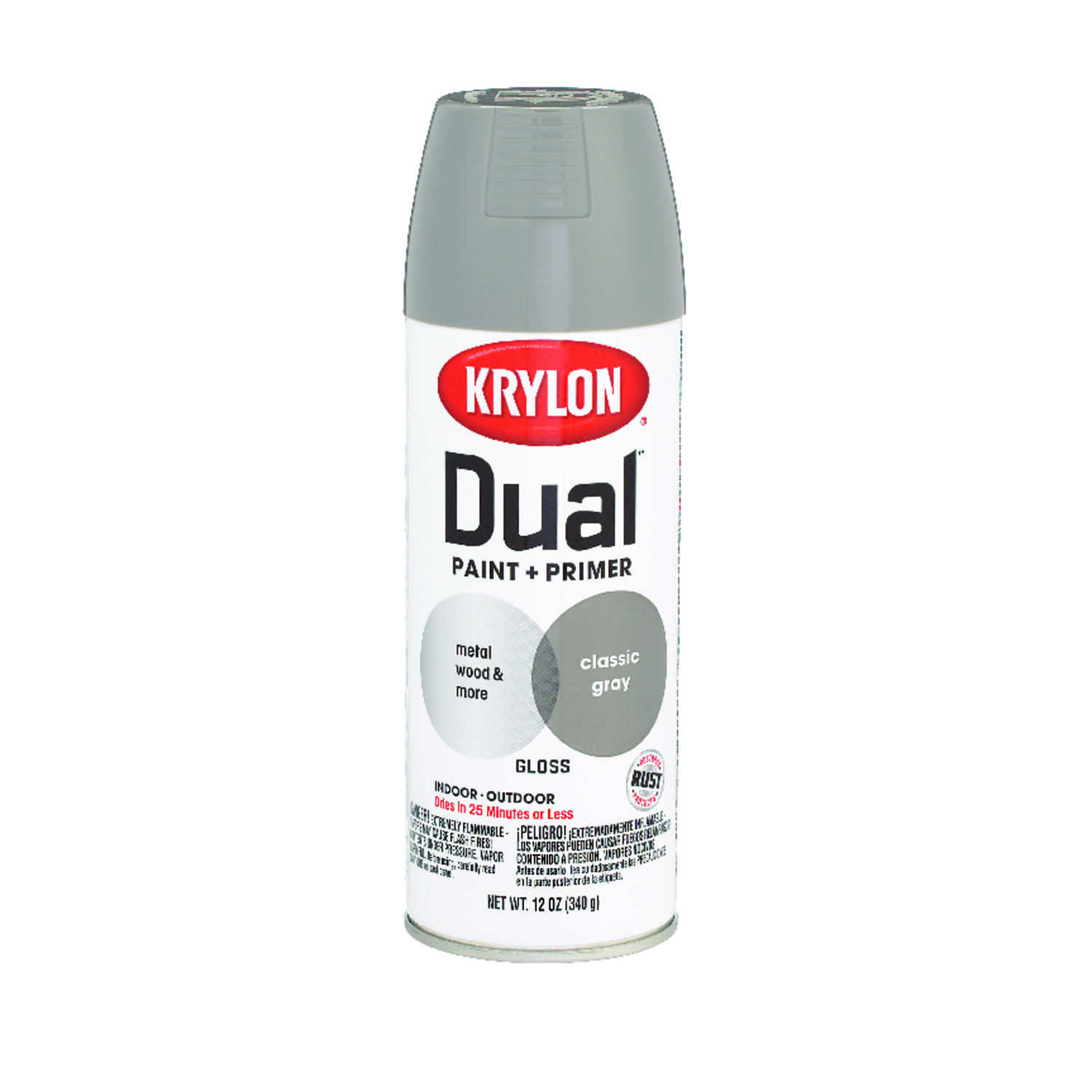 Krylon  Dual  Gloss  Classic Gray  Paint + Primer Spray Paint  12 oz.