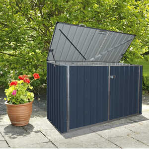 Build-Well  51 in. H x 77 in. W x 38.4 in. D Steel  Outdoor Storage Shed  Gray