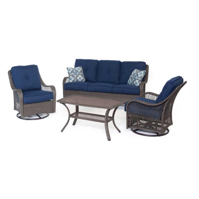 Hanover  4 pc. Brown  Resin  Patio Set  Blue