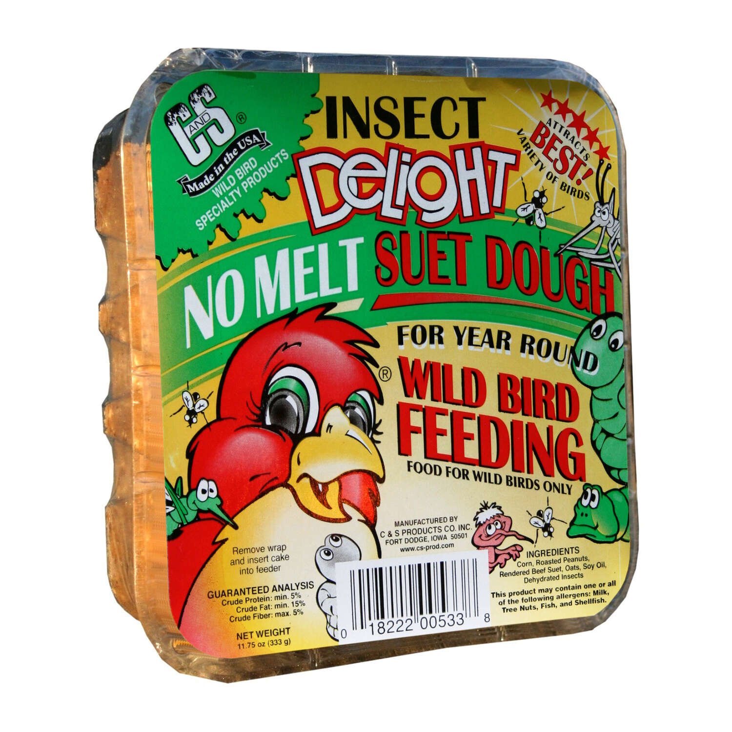 C&S Products Insect Delight Assorted Species Beef Suet Wild Bird Food 11.75 oz.