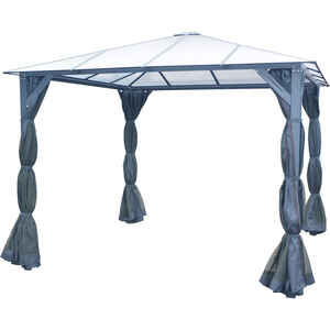 Hanover  Polycarbonite  Gazebo with Curtain and Netting  8.3 ft. H x 10 ft. W x 10 ft. L