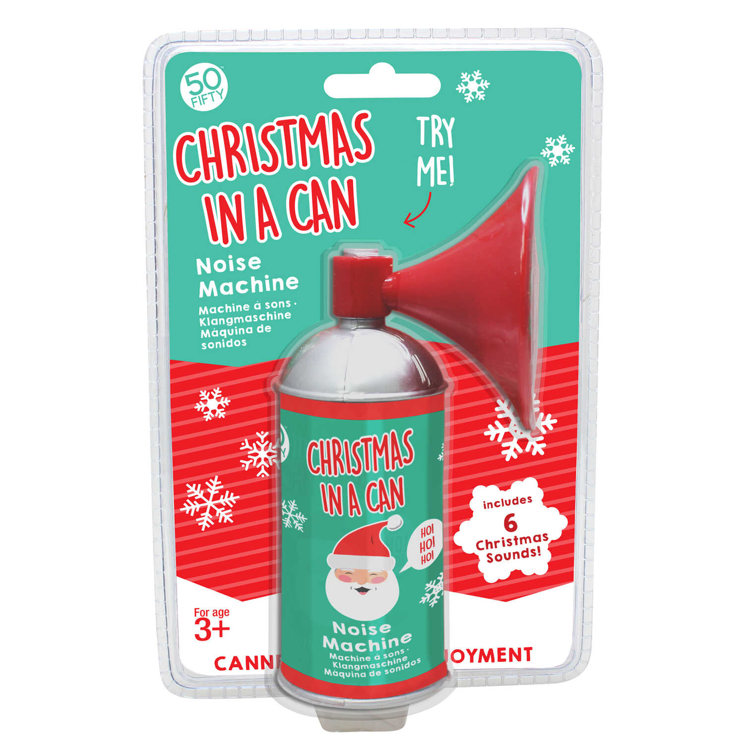 50 Fifty  Christmas In a Can  Noise Machine  Red/Green  Plastic  1 each
