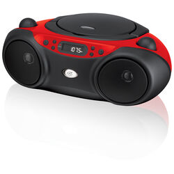GPX Black/Red AM/FM Clock Radio with CD Player Analog Plug-In