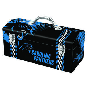 Sainty International  16.25 in. Steel  Carolina Panthers  Art Deco Tool Box  7.1 in. W x 7.75 in. H
