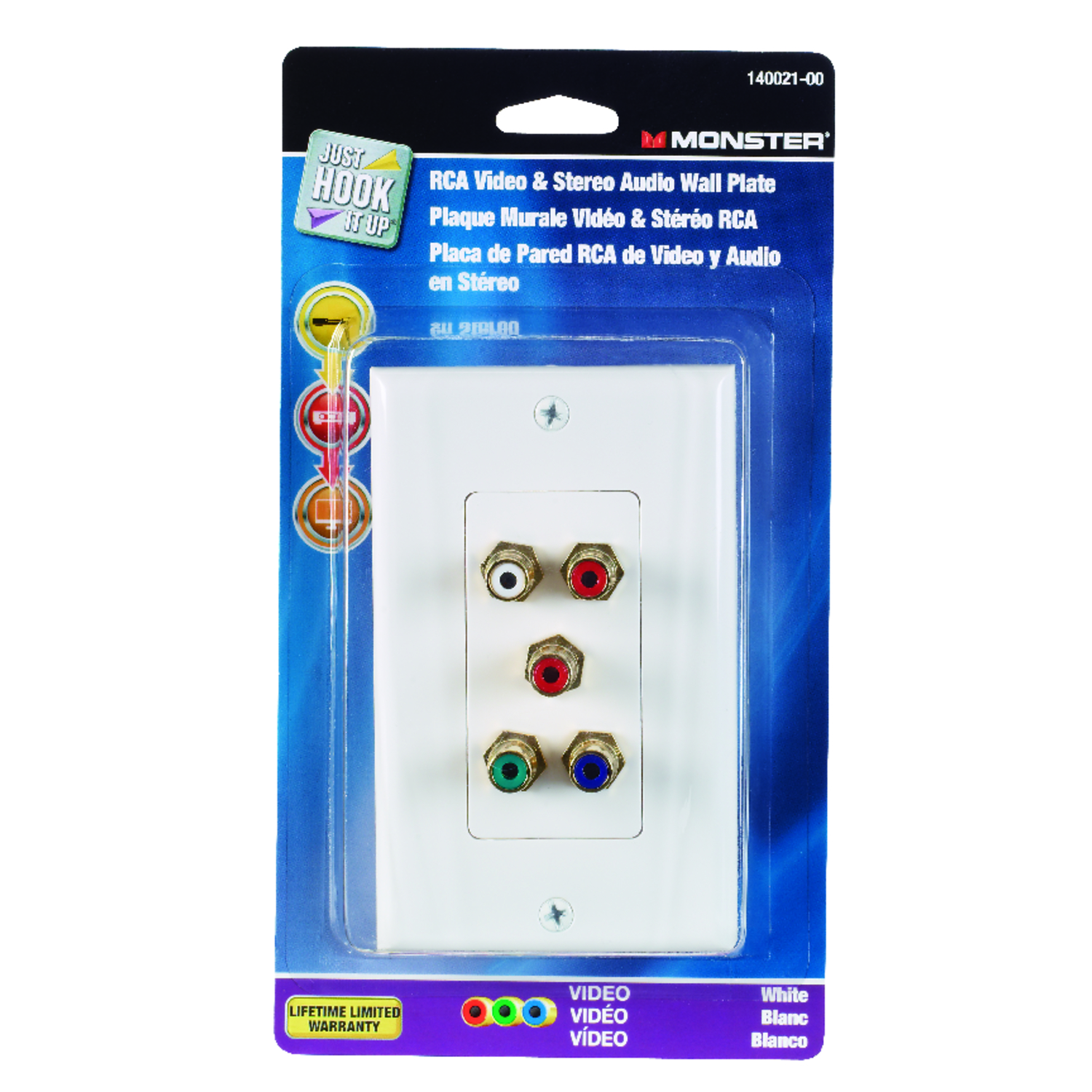 Monster Cable  Just Hook It Up  White  1 gang Plastic  Wall Plate  1 pk RCA
