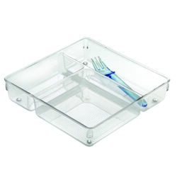 InterDesign  Linus  2 in. H x 9 in. W x 9 in. L Clear  Plastic  Drawer Organizer