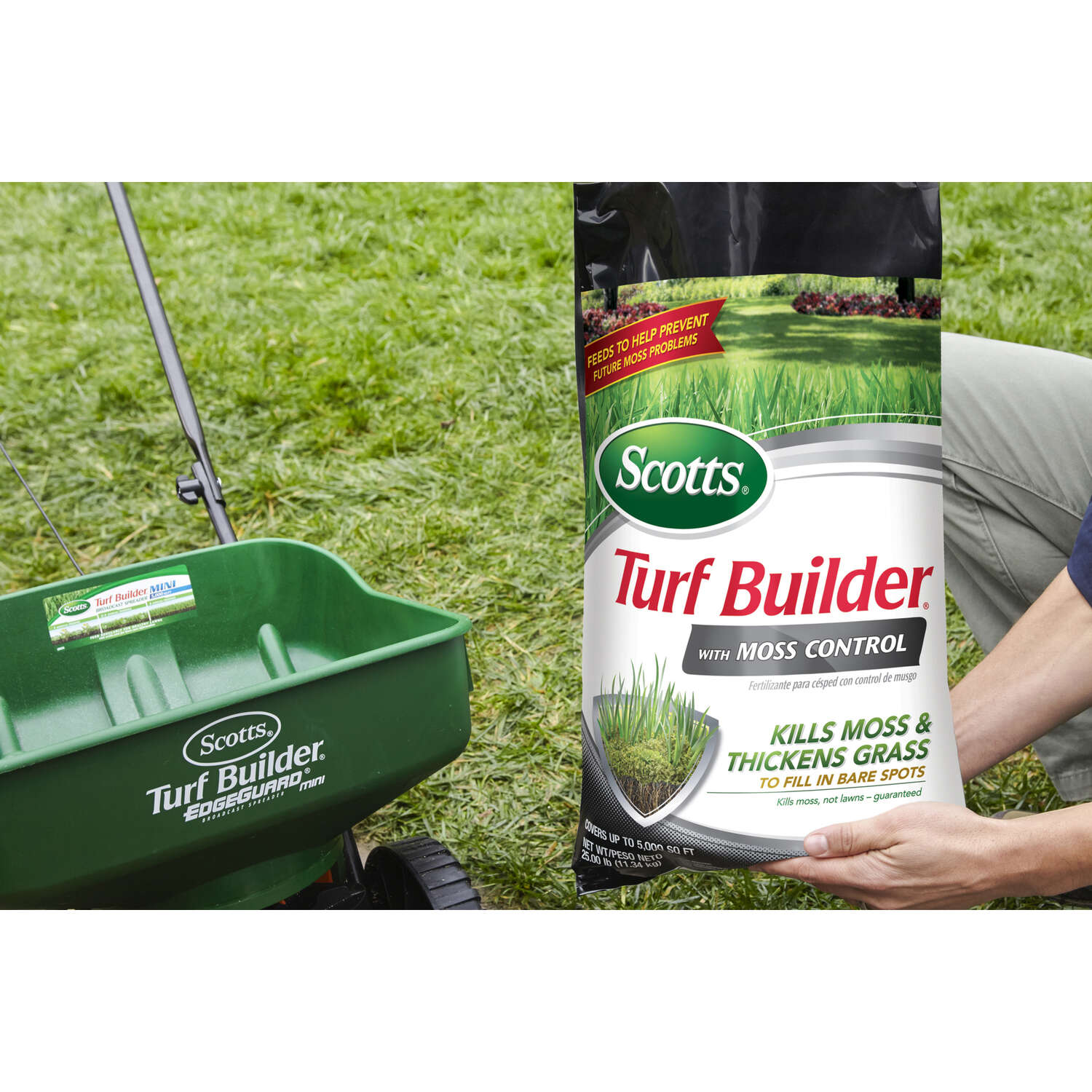 Scotts  Turf Builder  23-0-3  Lawn Fertilizer With Moss Control  For All Grass Types
