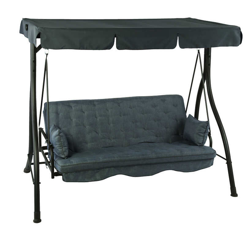 Living Accents  78 in. W 3 person  Gray  Hammock Swing