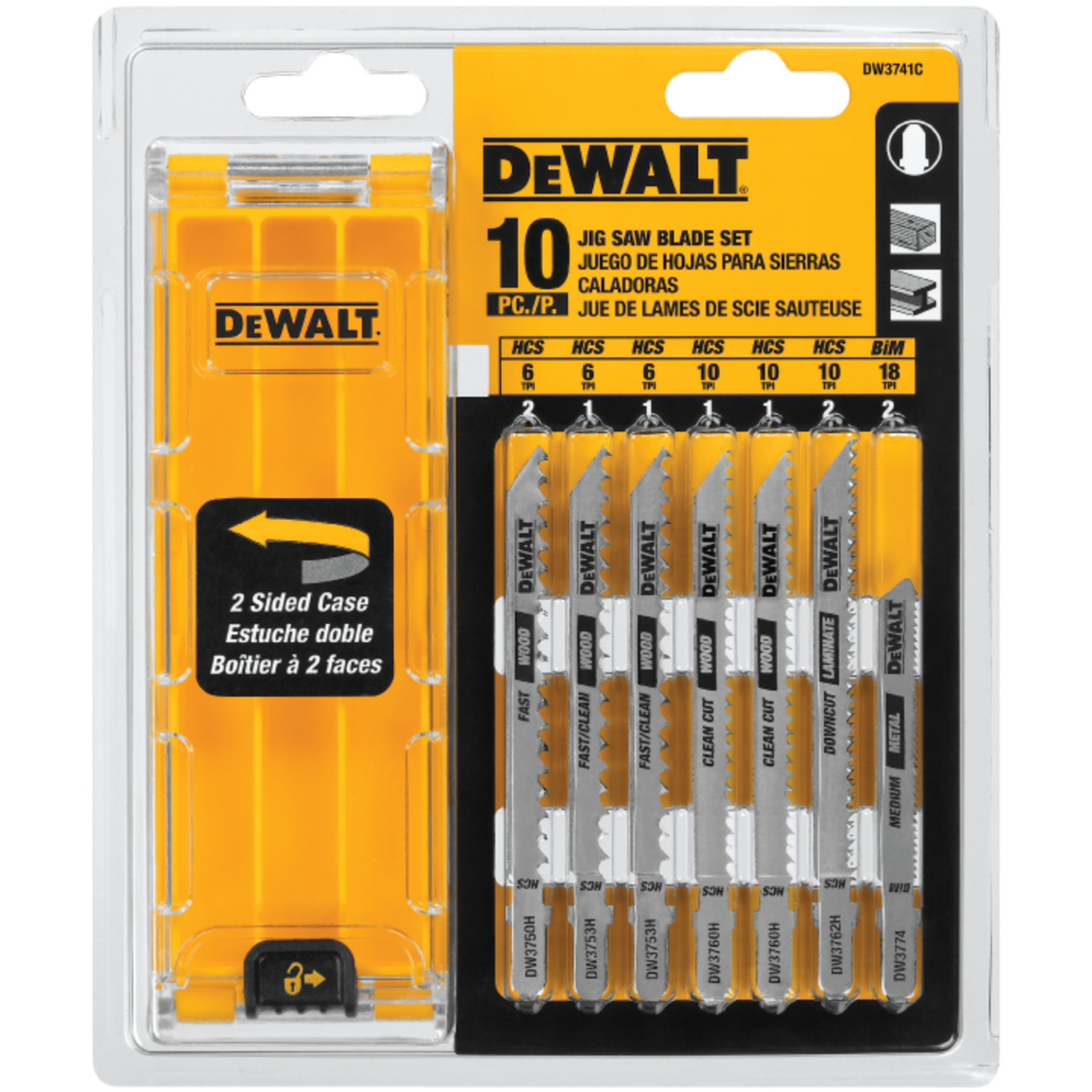 DeWalt 4 in. High Carbon Steel T-Shank Jig Saw Blade Set Assorted TPI 10 pk