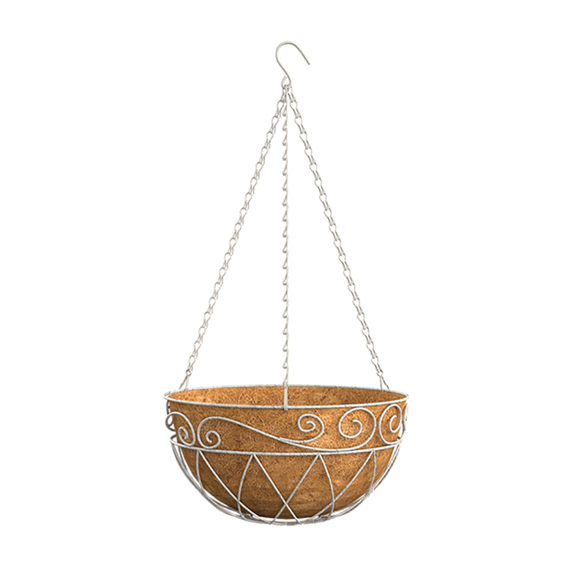 Panacea  White  Steel  Hanging Basket