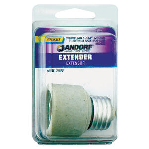 Jandorf  Porcelain  Medium Base  Socket Extender  1 pk