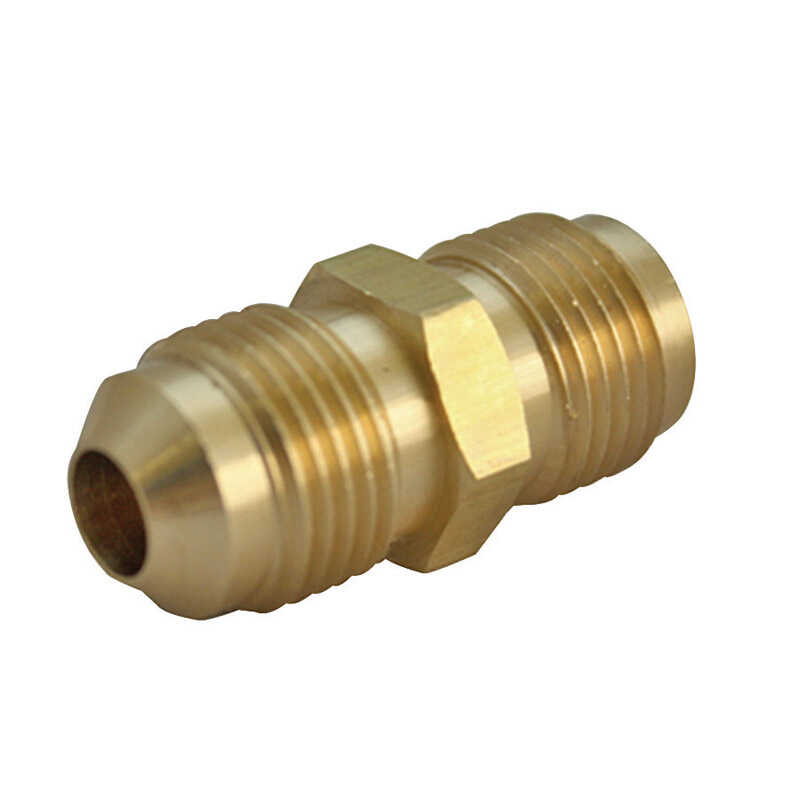 JMF  3/4 in. Dia. x 1/2 in. Dia. FPT To MPT To Flared  Yellow Brass  Union
