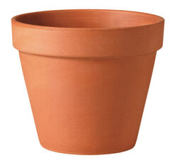 Deroma 9 in. H x 10 in. Dia. Clay Traditional Planter Terracotta