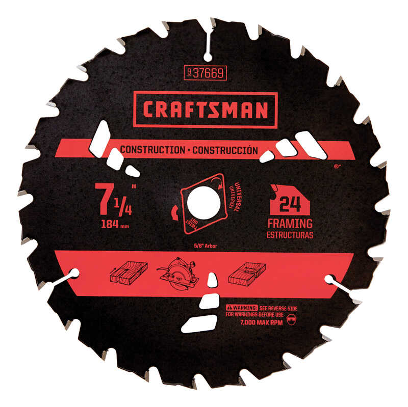 Craftsman  7-1/4  Dia. x 0.06 in. thick  Carbide  5/8  Circular Saw Blade  1 pc. 24 teeth