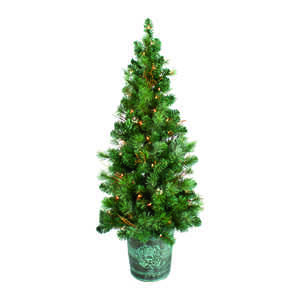 Celebrations  Clear  Prelit 4 ft. Crestwood  100 lights 212 tips Artificial Tree