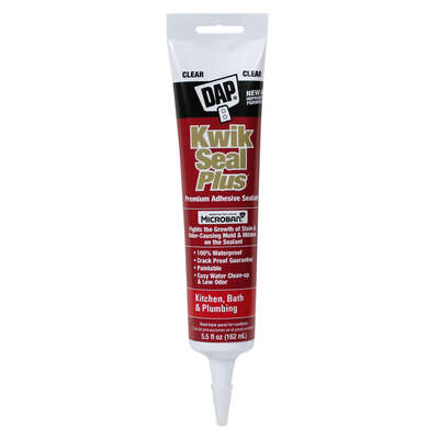 DAP  Kwik Seal Plus  Clear  Siliconized Latex  Kitchen and Bath  Adhesive Caulk  5.5 oz.