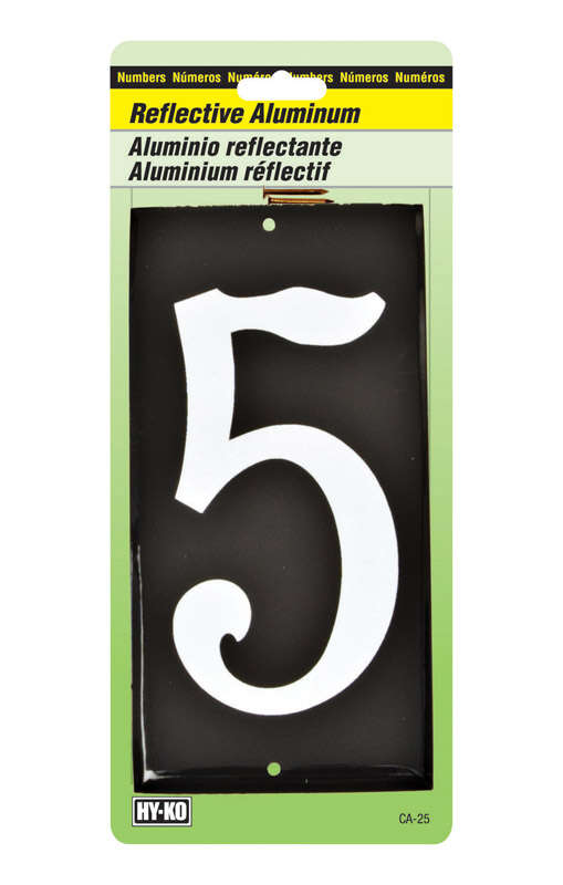Hy-Ko  3-1/2 in. Reflective White  Aluminum  Nail-On  Number  5  1 pc.