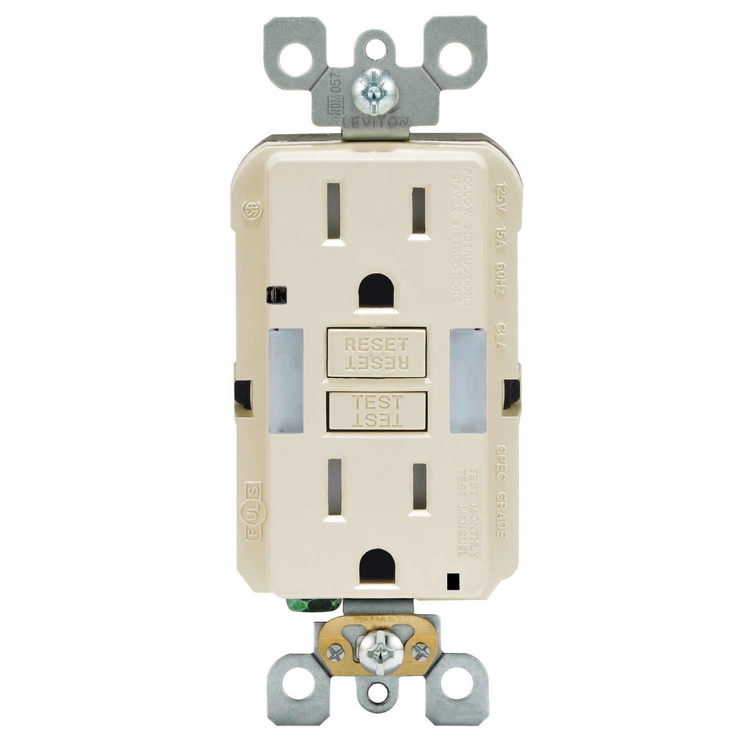 Leviton  15 amps 125 volt Light Almond  GFCI Outlet  5-15R  1 pk
