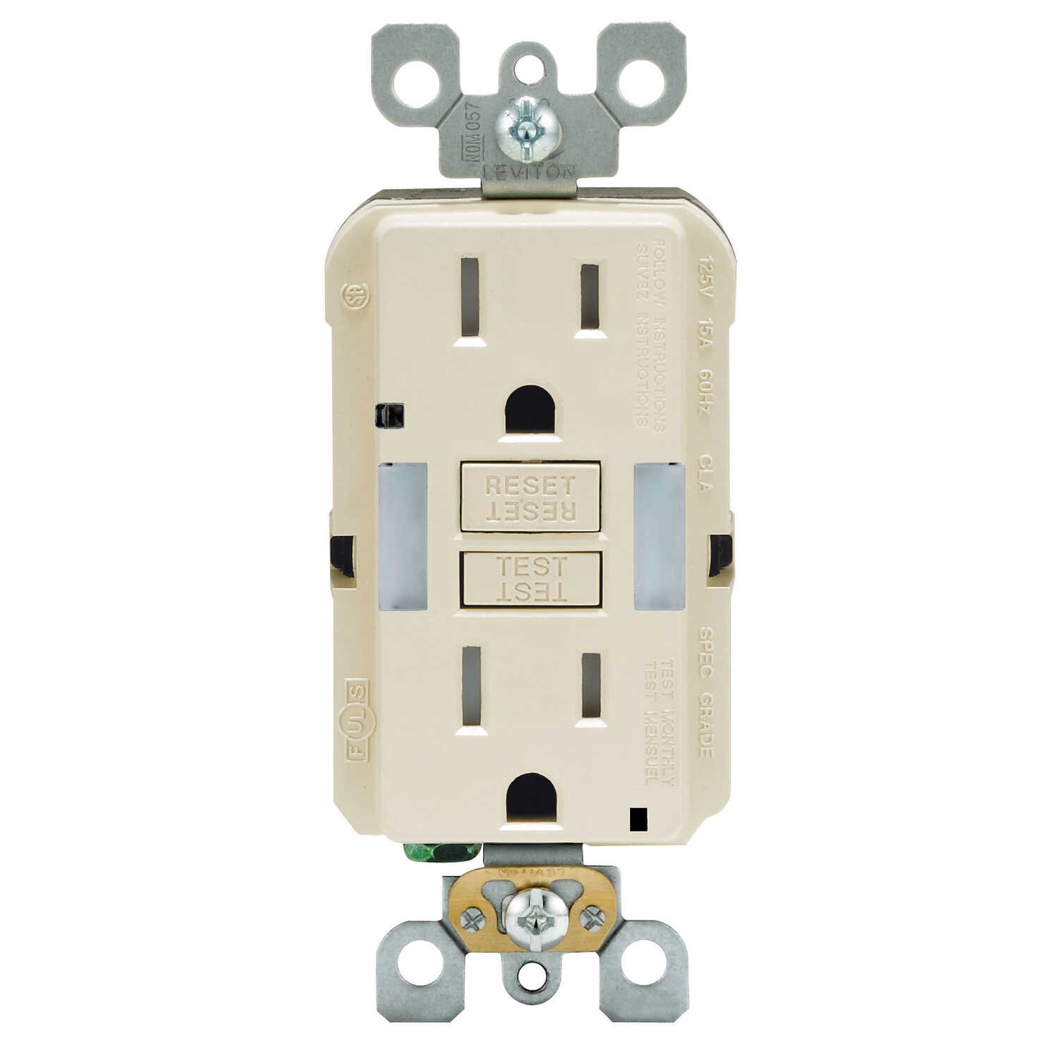 Leviton  15 amps 125 volt Duplex  Light Almond  GFCI Outlet  5-15R  1 pk