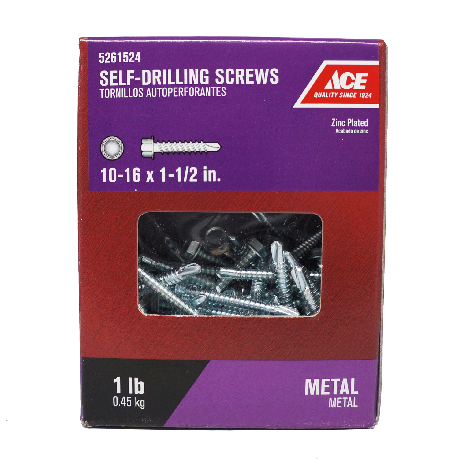 Ace  10-16 Sizes  x 1-1/2 in. L Hex  Hex Washer Head Zinc-Plated  Steel  Self- Drilling Screws  1 lb