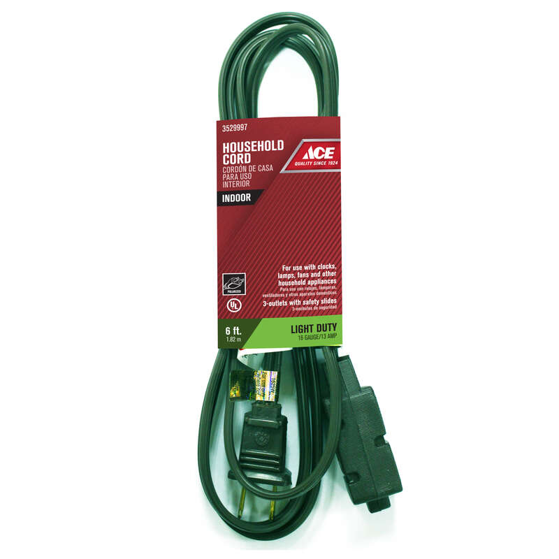 Ace  Indoor  6 ft. L Green  Extension Cord  16/2 SPT-2