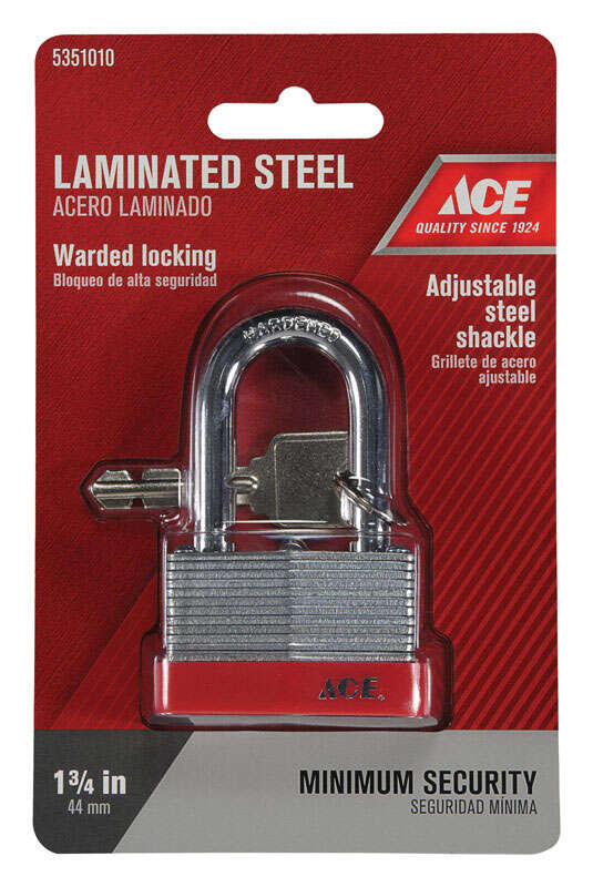 Ace  1.063 in. H x 1-3/4 in. W Warded Locking  Padlock  Steel  1 pk