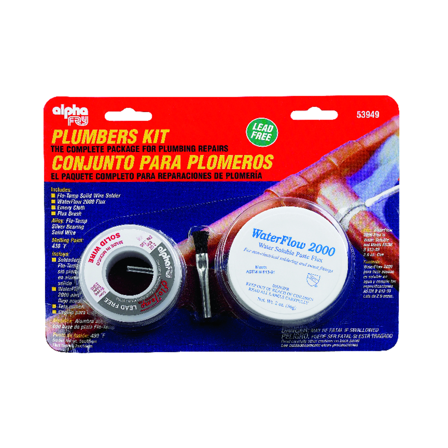 Alpha Fry  6 oz. Lead-Free Plumbers Kit  0.12 in. Dia. Flo-Temp Solid Wire, Silver Bearing Solder  S