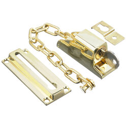 Ace  3.32 in. L Bright Brass  Steel  Keyed Chain Door Guard