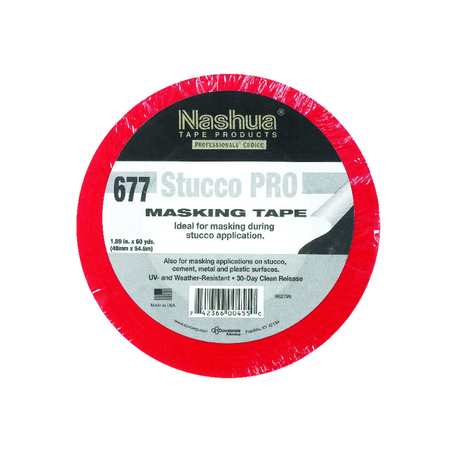 Nashua  1.89 in. W x 60 yd. L Stucco  Red  Masking Tape  Regular Strength  1 pk