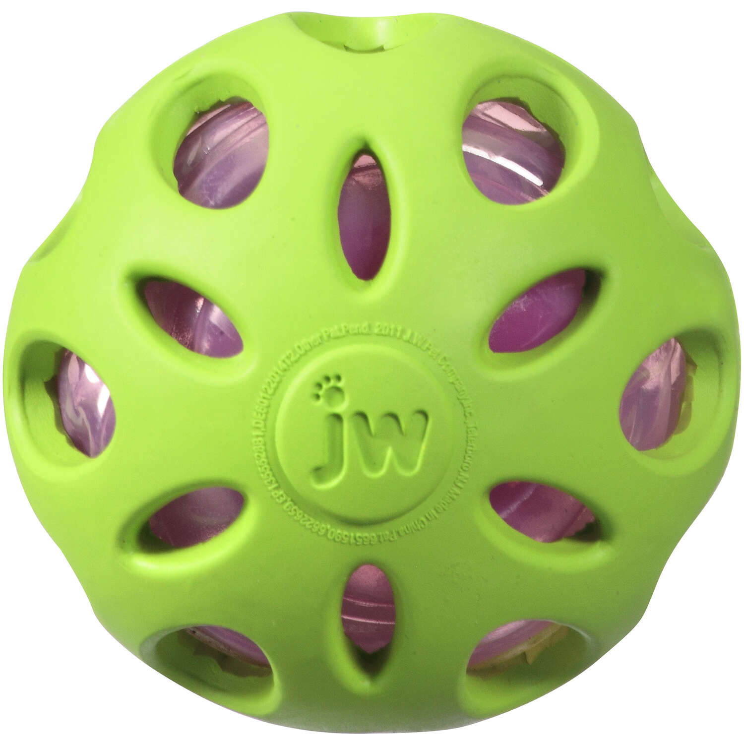JW Pet  Crackle Heads  Assorted  Crackle Heads Ball  Rubber  Dog Toy  Medium