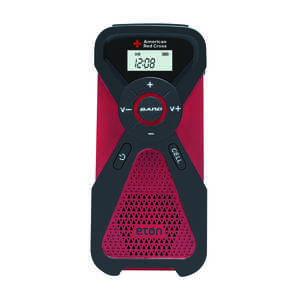 American Red Cross  Weather Alert Radio Flashlight  Analog  Battery Operated  Red
