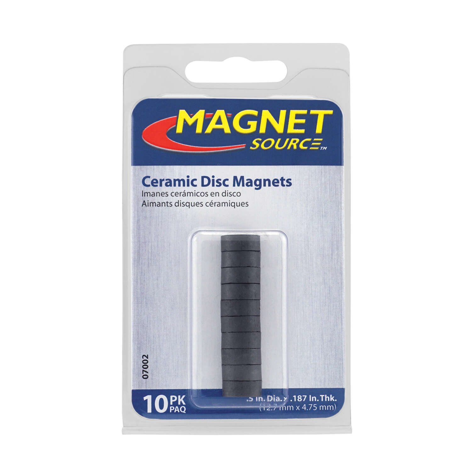 Master Magnetics  The Magnet Source  .187 in. Ceramic  Disc Magnets  Disc  3.5 MGOe Black  10 pc. 0.