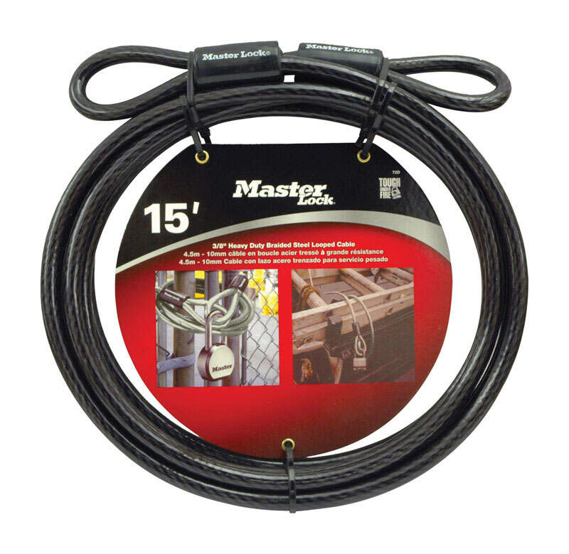 Master Lock  3/8 in. Dia. x 180 in. L Vinyl Coated Steel  Flexible Braided Steel Cable