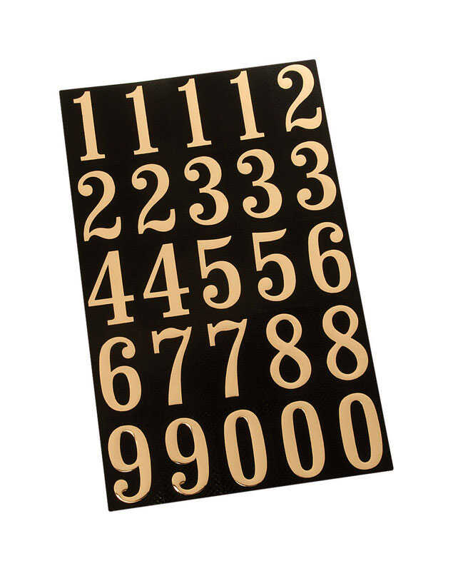 Hy-Ko  2 in. Reflective Polyester  Gold  0-9  Number Set  Self-Adhesive