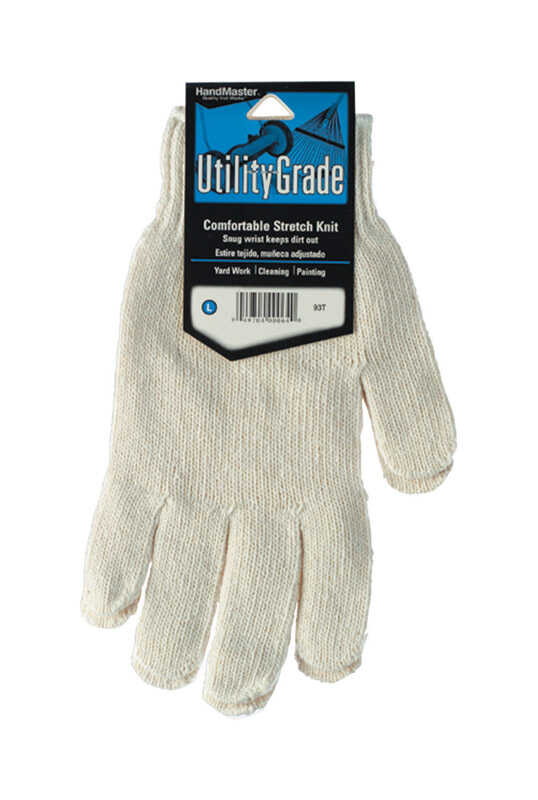 Handmaster  Unisex  Indoor/Outdoor  Cotton Knit  Utility  Stretch Gloves  White  M
