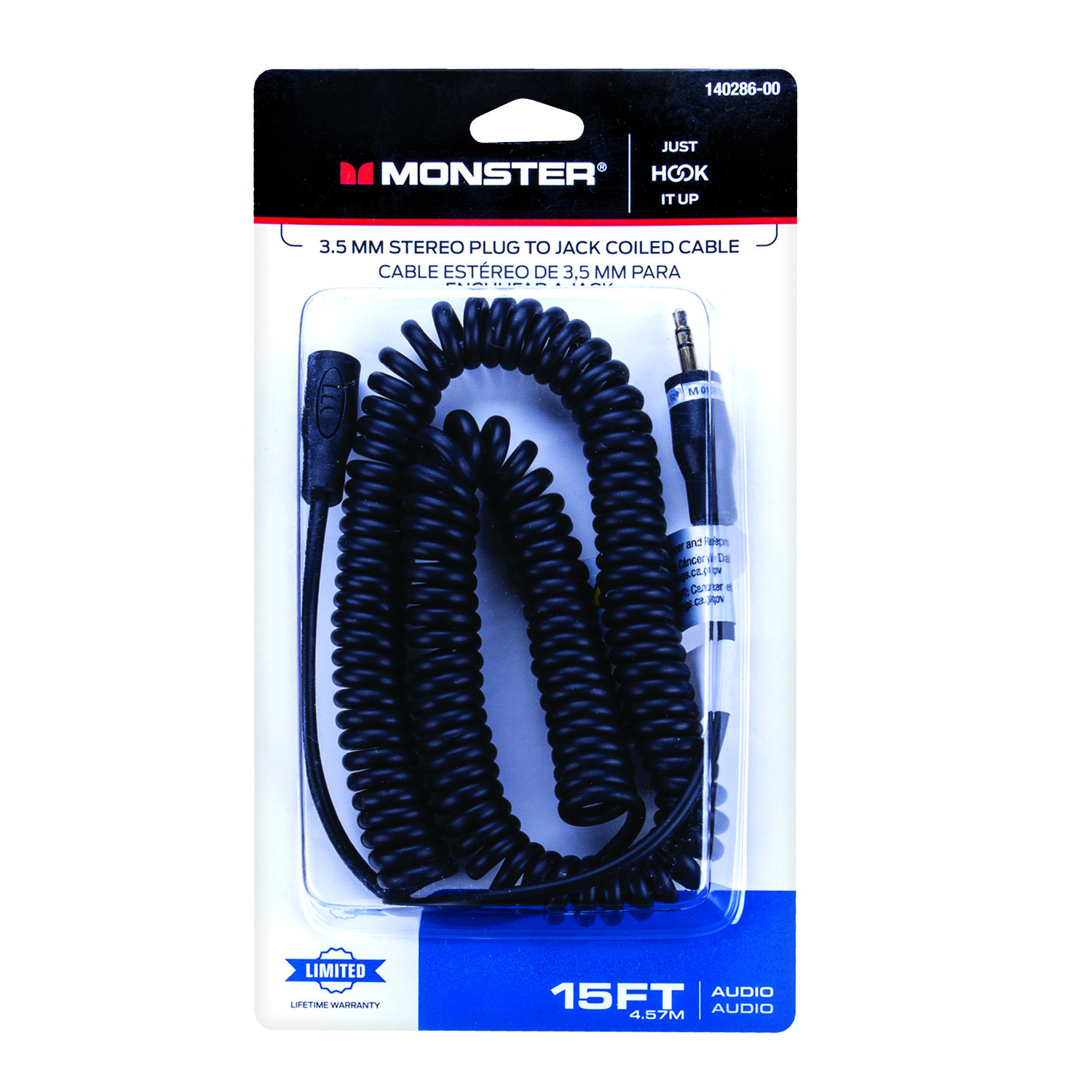 Monster  Just Hook It Up  15 ft. L Stereo Plug Cable  1 pk