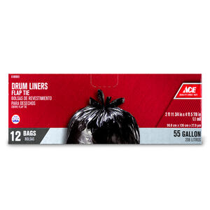 Ace  55 gal. Drum Liner  Flap Tie  12 pk