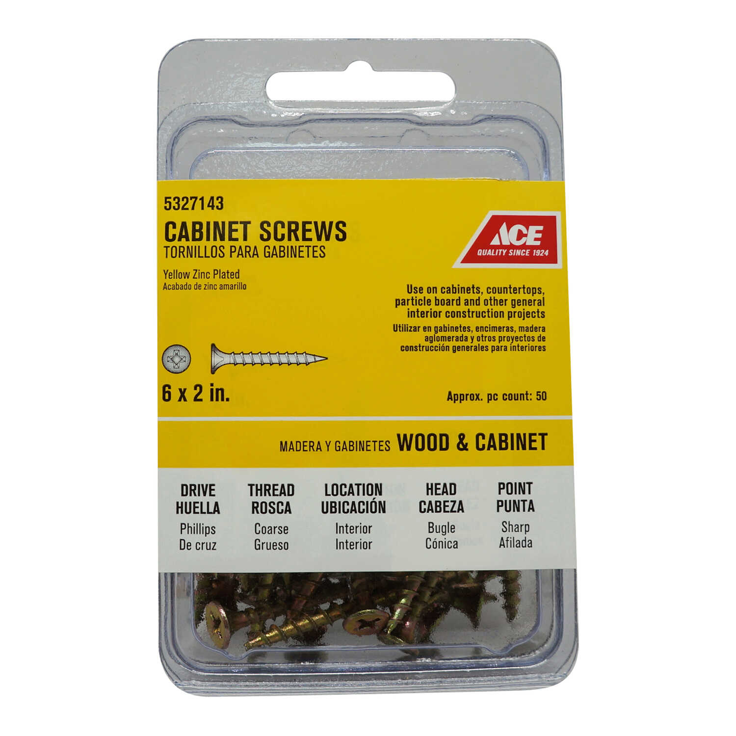 Ace  No. 6   x 2 in. L Phillips  Yellow Zinc-Plated  Cabinet Screws  50 pk