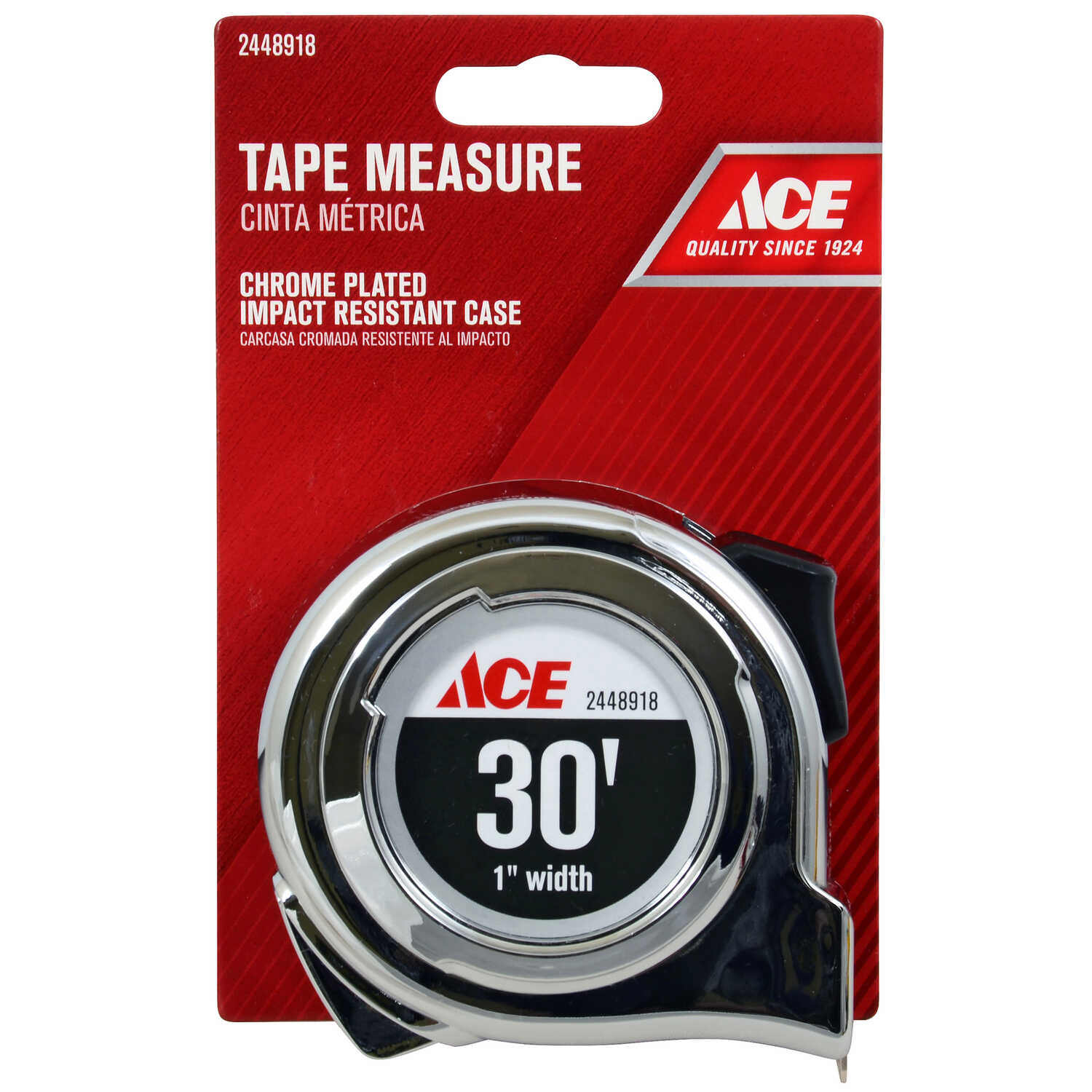 Ace  30 ft. L x 1 in. W Tape Measure  Chrome  1 pk