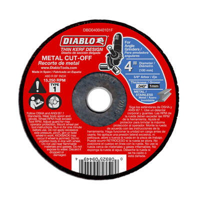 Diablo  4 in. Dia. x 5/8 in.   Aluminum Oxide  Metal Cut-Off Wheel  1 pk