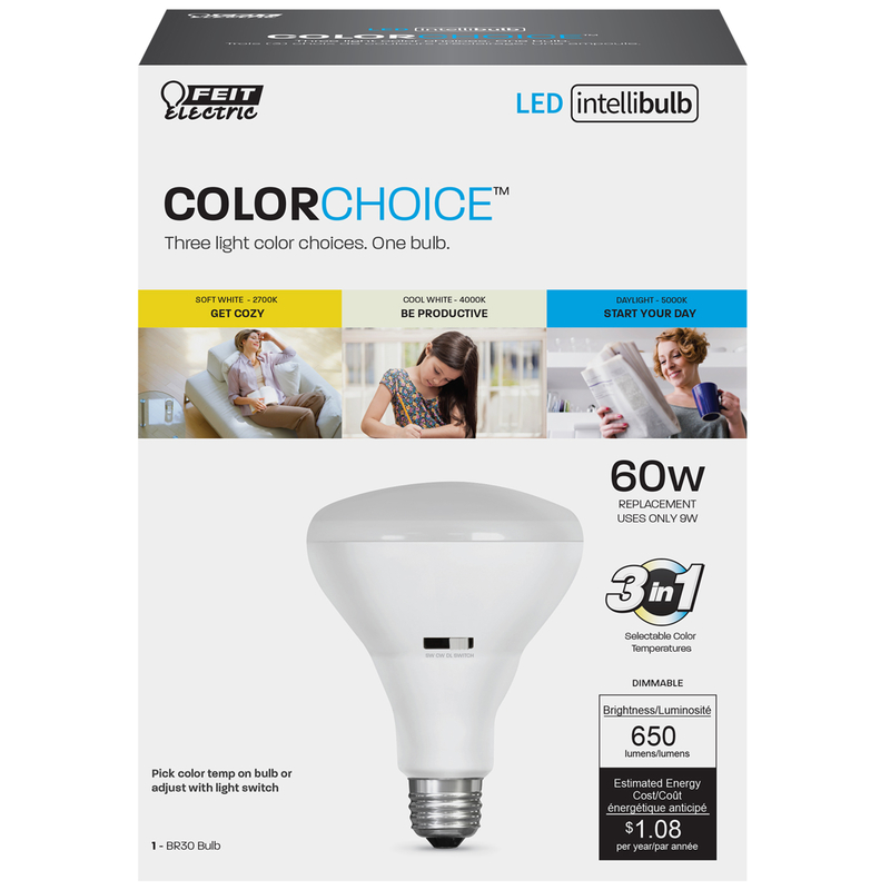 FEIT Electric  Intellibulb COLORCHOICE  9 watts BR30  LED Bulb  650 lumens Specialty  60 Watt Equiva