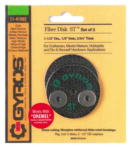 Gyros Tools  Fiber Disk ST  1-1/2 in. Dia. x 1/8 in.  Fiberglass  Cutting Disc  2 pc.