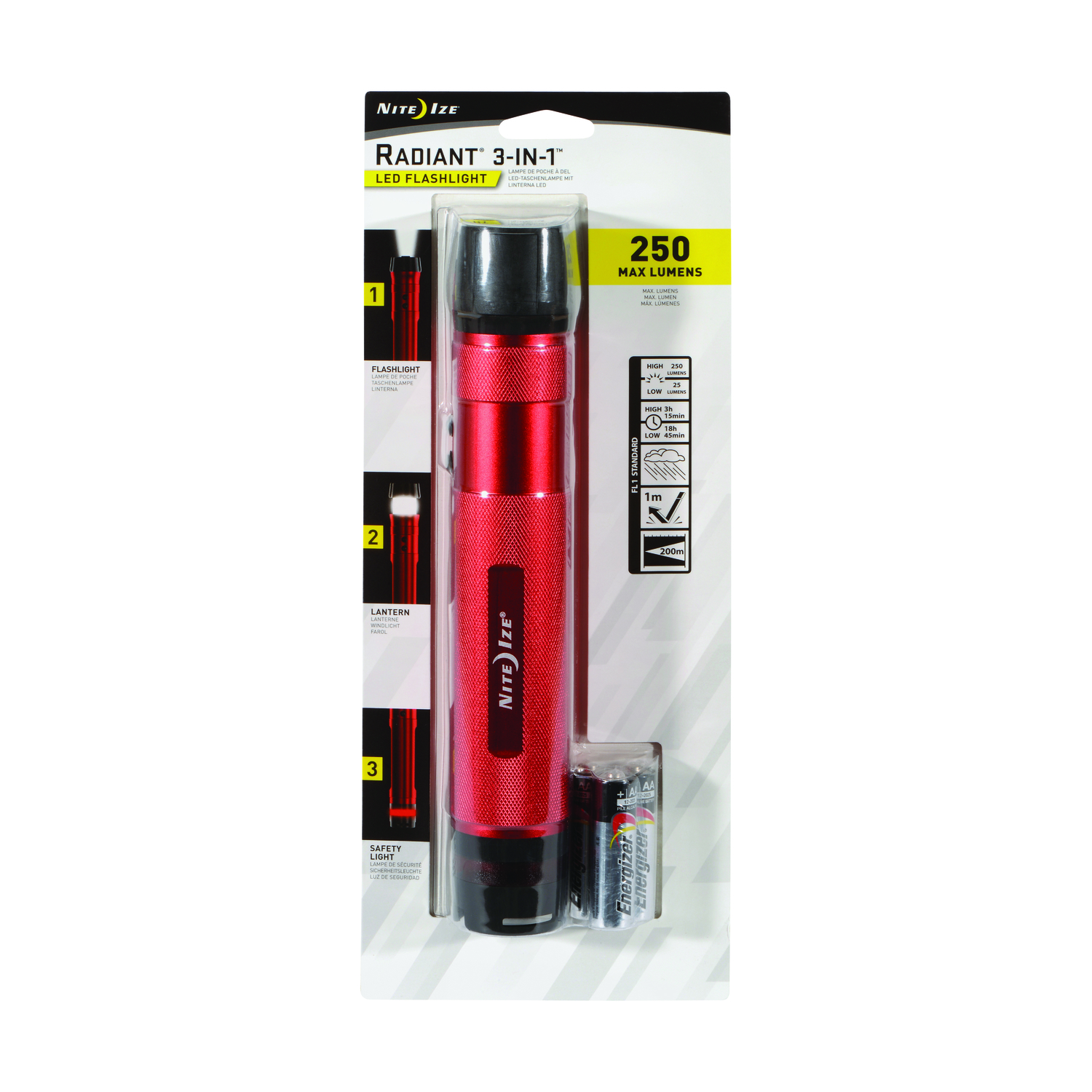 Nite Ize  3-in-1  250 lumens Red  LED  Flashlight  AA