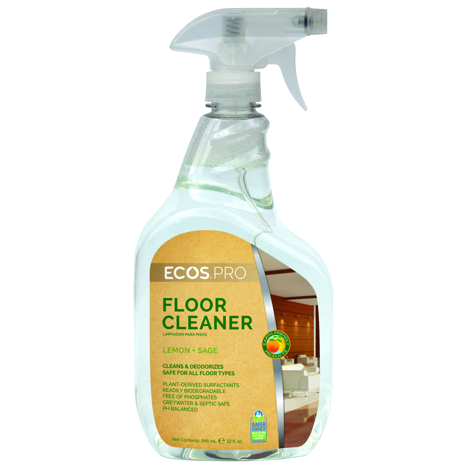 ECOS Pro  Earth Friendly Products  Lemon Sage Scent Floor Cleaner  32 oz. Liquid
