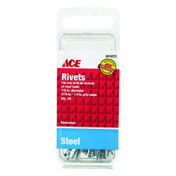 Ace  1/8 in. Dia. x 1/4 in.  Steel  Rivets  Silver  20 pk